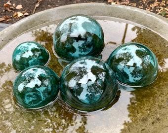 "Blue Green Glass Floats, Set of Five, 3""-4.5"" Garden Balls, Nautical Home Décor, Vintage Fishing Float Color, Hand Blown, Avalon Glassworks"
