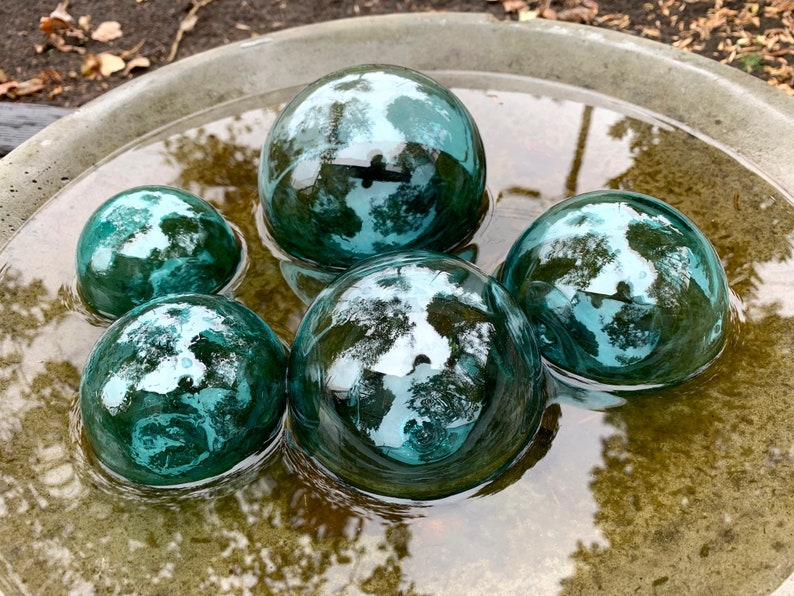 Blue Green Glass Floats Set of Five 34.5 Garden image 1