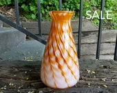 Amber & White Glass Vase ...