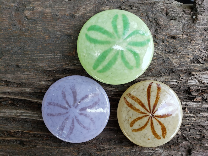 Trio of Sand Dollars Solid Glass 3.5 Paperweights in image 0
