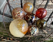 Fall Colors, Blown Glass Floats Set of 7 Natural Autumn Red Brown Amber Beige Earth Tone Garden Balls Outdoor Art Spheres, Avalon Glassworks