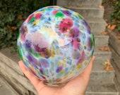 "Rainbow Sprinkles Float, 5"" Blown Glass Art Pond Ball, Multi-Color Spots White Purple Pink Blue Green Yellow Garden Globe, Avalon Glassworks"