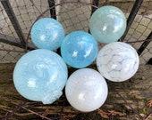 "Airy Blue and White, Blown Glass Balls, Set of Six Translucent 2.5""-3.5"" Pond Floats, Garden Art Decoration Basket Filler Avalon Glassworks"