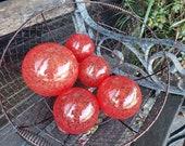 Bright Red Blown Glass Balls, Set of 5 Interior Design Spheres Garden Art Outdoor Pond Orbs Fishing Floats Coastal Decor, Avalon Glassworks