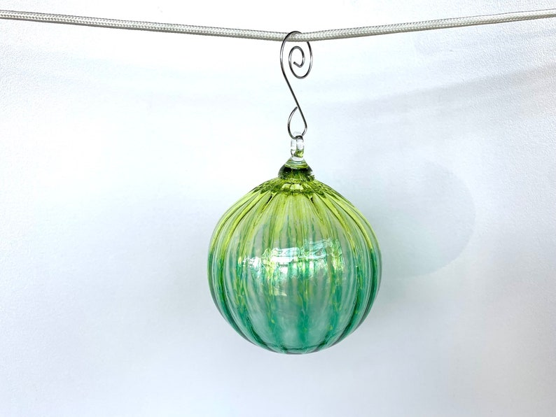 Green Two-Toned Blown Glass Ornament Emerald Lime Ombré Sun image 1
