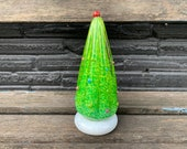 Holiday Tree Sculpture, Blown Glass Christmas Decoration for Mantel or Tabletop, Green, White, Multi-Colored Dots, Art, Avalon Glassworks