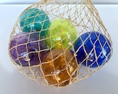 Nautical Jewel Tone Floats, Set of Five Small Hand Blown Glass Balls in Net Bag, Colorful Beach Art, Tiki, Coastal Decor, Avalon Glassworks