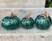 Hand Blown Glass Pumpkins, Set of 3 Aqua, Metallic Curly Stems Ribs, Colorful Turquoise Teal Green Coastal Autumn Decor, Avalon Glassworks
