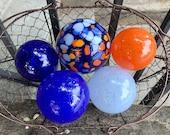 "Blue and Orange Glass Floats, Set of Five 2.5""-3.5"" Hand Blown Balls Sturdy Decorative Garden Art Spheres Outdoor Decor, Avalon Glassworks"