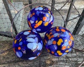 "Blue and Orange Spot Floats, Set of Three 3.5"" Blown Glass Decorative Balls, Outdoor Garden Design Nautical Pond Spheres, Avalon Glassworks"