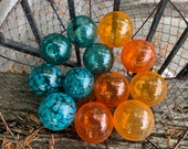 Teal and Orange Hand Blown Glass Balls, Set of 12 Small Garden Art Orbs Interior Design Spheres, Turquoise Fishing Floats, Avalon Glassworks