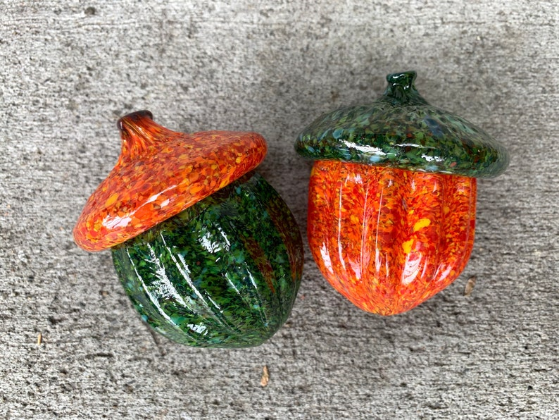 Blown Glass Acorn Sculptures Set of Two 4 Orange and image 0