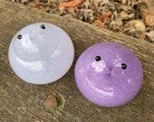 "Lavender and Purple Glass Chicks, Set of Two 2.5"" Hand Blown Bird Sculptures, Spring Art Easter Basket Mantel Table Decor, Avalon Glassworks"