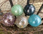 Multi Color Mega Mix, Set of 5 Small Decorative Floats Hand Blown Glass Balls Outdoor Garden Art Pond Decor Basket Filler, Avalon Glassworks