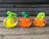 """Orange Yellow Green, Set of 3 Small Solid Glass Pumpkins, Curly Stems, 3"""" Paperweights Colorful Autumn Mantel Table Decor, Avalon Glassworks"""