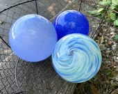 "Blue Skies, Set of Three Hand Blown Glass Floats, 4""-4.5"" Garden Pond Balls, Decorative Outdoor or Indoor Design Spheres, Avalon Glassworks"