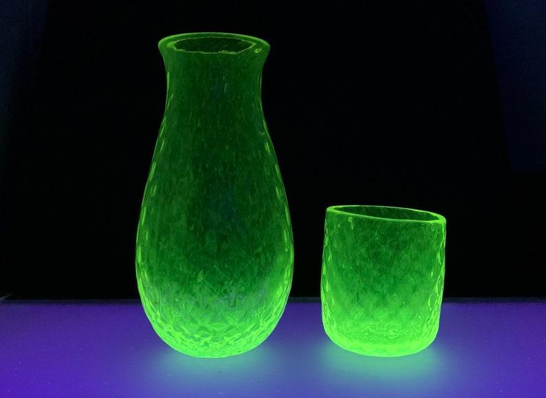 Uranium Glass Decanter and Tumbler Set Glows in Black Light image 1