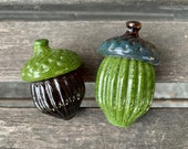 Brown Green Glass Acorn Sculptures, Set of 2 Seed Pod Paperweights, Fall Autumn Decorations, Nature Woodland Oak Tree Art, Avalon Glassworks