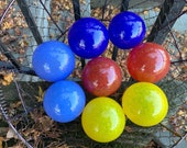 Primary Colors, Set of Eight Small Hand Blown Glass Balls, Red Yellow Blue Pond Floats Garden Art Interior Design Spheres, Avalon Glassworks