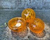 Little Orange Sea Life Set, 3 Aquatic Art Glass Sculptures, Sea Urchin Shell, Blown Glass Float, Mini Dish Trinket Holder, Avalon Glassworks