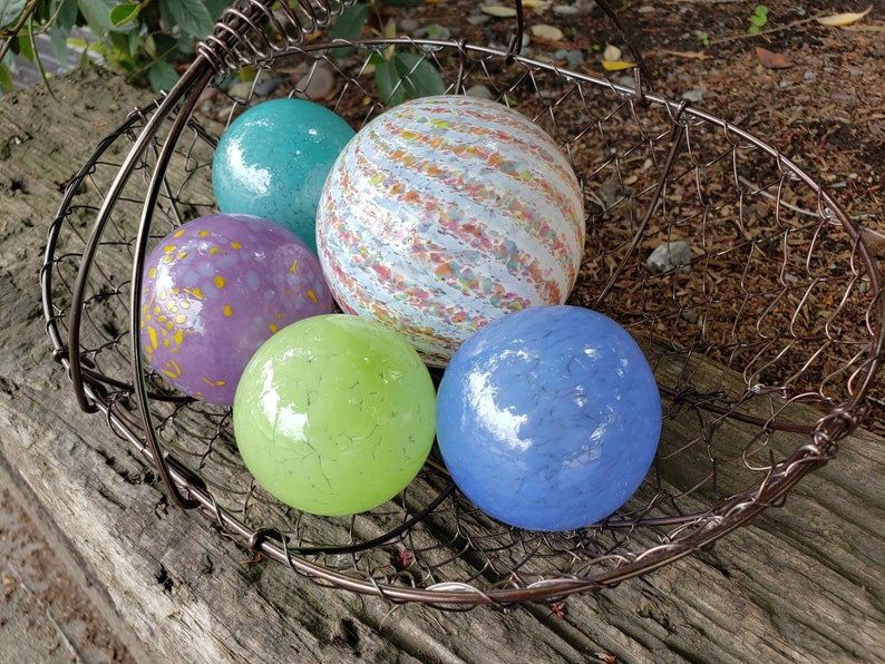 Spring Colors Glass Balls Set Of Five 2 5 To 3 5 Blown Glass Spheres Decorative Floats For Outdoors Or Indoors By Avalon Glassworks