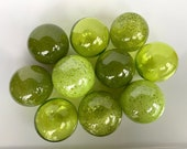 Olive Green Blown Glass Floats, Set of Ten Small Decorative Balls for Home Garden Art Pond Chartreuse Kiwi Lime Grass Pea, Avalon Glassworks