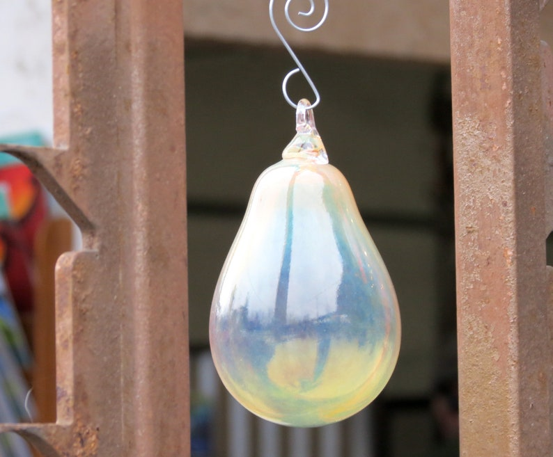 Golden Pear Blown Glass 4.5 Ornament with Silver Hook image 0