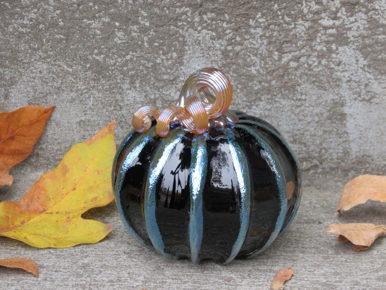 Black and Gold Pumpkin 4.5 Decorative Blown Glass image 0