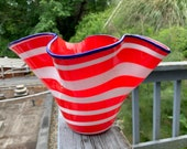 """All-American Vase, Red, White & Blue Blown Glass 9"""" Art Bowl, Patriotic Service Award, Wavy Ruffle Sits on Side or Stands, Avalon Glassworks"""