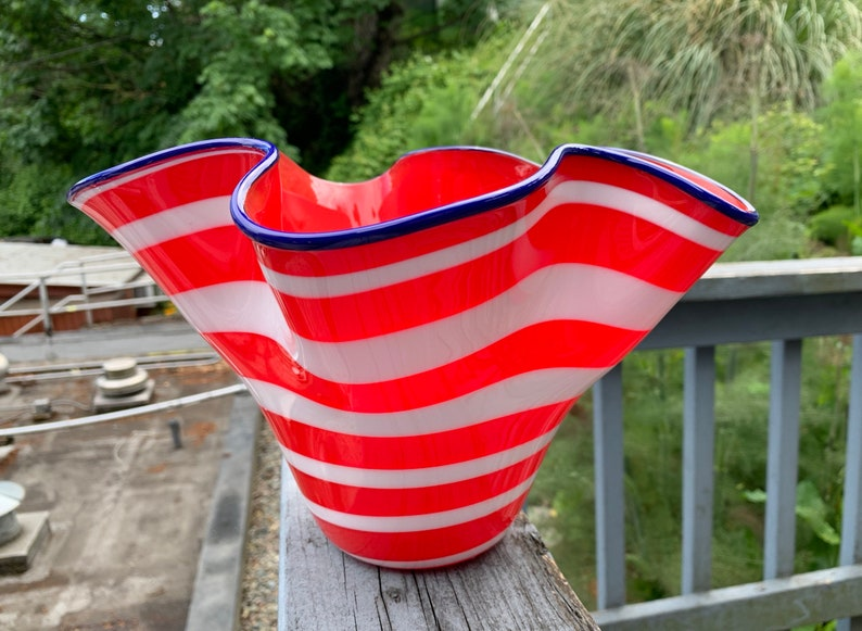 All-American Vase Red White & Blue Blown Glass 9 Art image 0