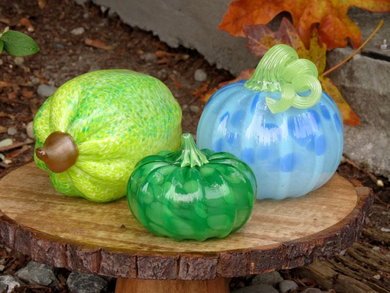 Pod Squash & Pumpkin Set of Three Green and Blue Blown Glass image 0