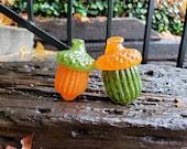 "Glass Acorns, Set of Two, 2.75"" Orange & Green Seed Pod Sculptures, Paperweights, Autumn Fall Decor Woodland Oak Tree Art, Avalon Glassworks"