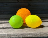 Glass Fruit, Set of 3 Citrus, Hand Blown Lemon Lime Orange, Sunny Kitchen Art Decor Table Centerpiece Bright Yellow Green, Avalon Glassworks