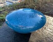 "Blue Nest Bowl, Hand Blown Glass 8.5"" Decorative Asymmetrical Bowl Light Spot Wrap Pattern, Wrap Design, Organic, Natural, Avalon Glassworks"