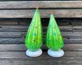 """Lean-Together Glass Christmas Trees, Mantel Decoration, Set of Two, 6""""-7"""" Blown Glass Green Tree Sculptures, Colored Dots, Avalon Glassworks"""