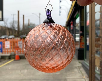 """Champagne Facet Ornament, Round 3"""" Hand Blown Glass Hanging Sun Catcher Peach Pink Purple Loop, Tree or Window Decoration, Avalon Glassworks"""