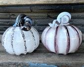 "Black and White Glass Pumpkins, Set of Two 4.5"" Decorative Squash Sculptures Curly Coil Stems Halloween Autumn Decoration, Avalon Glassworks"