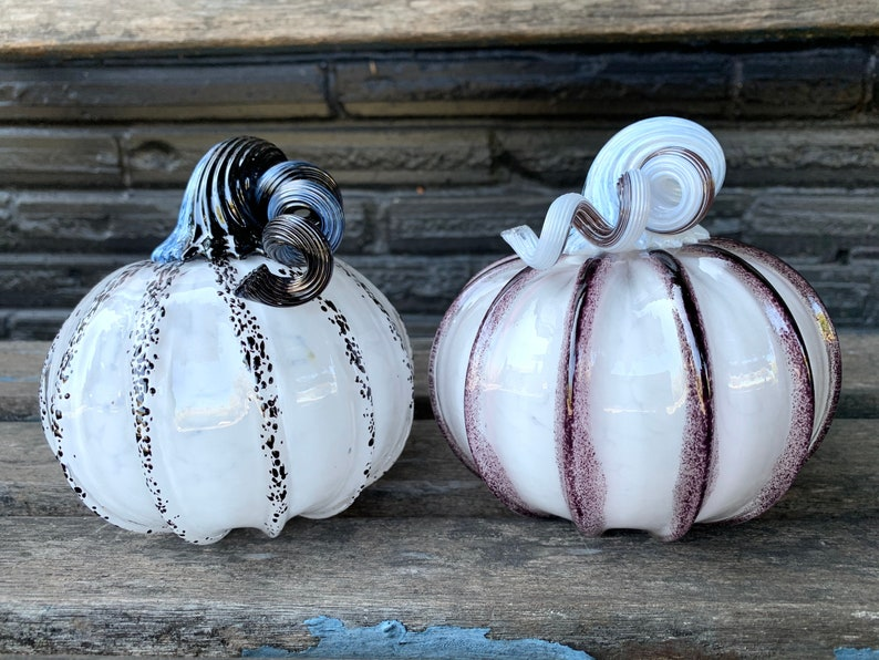 Black and White Glass Pumpkins Set of Two 4.5 image 1