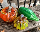Pod and Pumpkin Set of Three, Hand Blown Glass Gourds, Green Orange Yellow, Table Centerpiece, Thanksgiving Decor, Squash, Avalon Glassworks