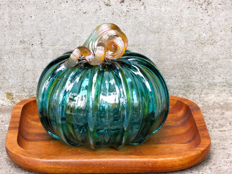 Aqua Green Transparent 4 Blown Glass Pumpkin image 0