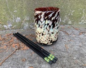 "Burgundy & Beige Spot Cup, Hand Blown Glass Pen Holder, Drinking Glass Small Vase Bathroom Decor 4"" Glassware Spots Design Avalon Glassworks"