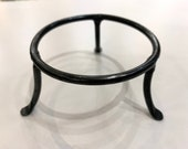 """Float Stand, 3"""" Iron Ring, Handcrafted Ball Holder, Display Pedestal, Black Metal"""