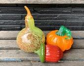 Gourd, Pumpkin and Acorn, Blown Glass Set of Three, Thanksgiving Table Art Centerpiece, Autumn Decorations Orange Pumpkin, Avalon Glassworks