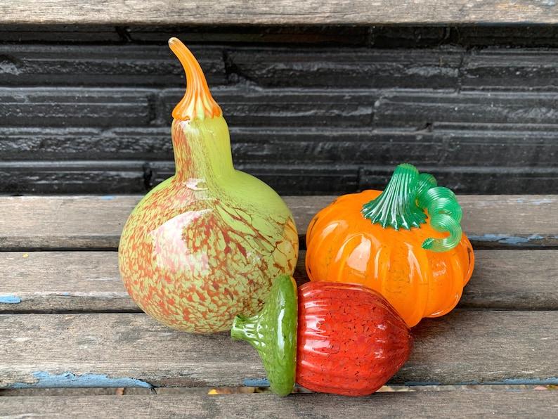 Gourd Pumpkin and Acorn Blown Glass Set of Three image 1