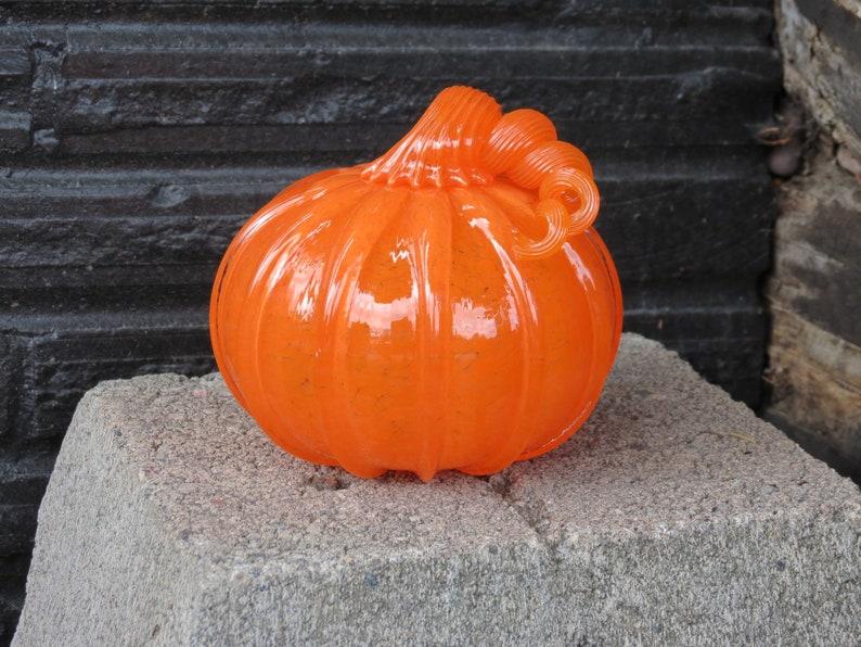 Orange Glass Pumpkin 4 Blown Glass Decorative Gourd image 0