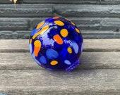 "Cobalt Blue, Light Blue, Orange Spot Float 3.5"" Blown Glass Decorative Ball, Outdoor Garden Design Nautical Pond Sphere, Avalon Glassworks"