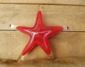 """Red on Red Swirled Sea Star, Solid Glass 6"""" Starfish Sculpture, Decorative Beach Paperweight, By Avalon Glassworks"""