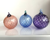 """Blown Glass Ornaments Individually Boxed, Set of Three Diamond Facet 3"""" Hanging Holiday Art Decorations, Blue Pink Purple, Avalon Glassworks"""