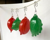 Amorphous Blown Glass Ornaments, Set of 4 Hanging Holiday Art Decor Sun Catchers, Opaque Red and Green Pulled Point Blobs, Avalon Glassworks