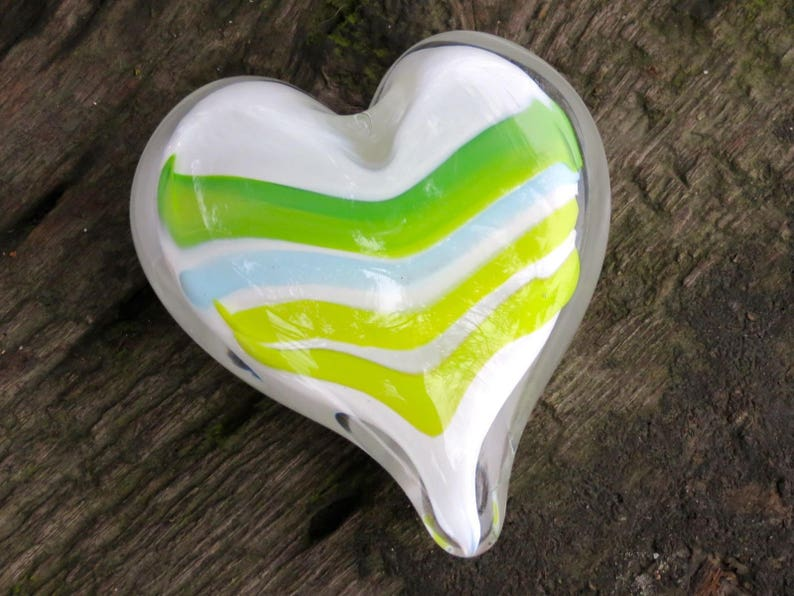 Green & Light Blue Striped Glass Heart Solid Heart-Shaped image 0
